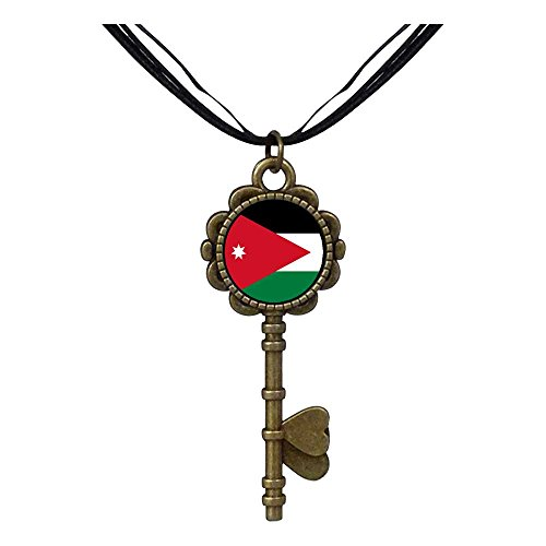 GiftJewelryShop Bronze Retro Style Jordan flag Key to Her Heart Pendant Charm Necklaces by GiftJewelryShop