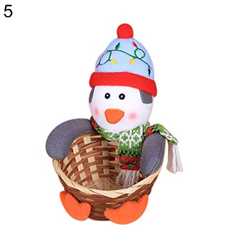 Brave669 Clearance Deals Christmas Candy Basket Storage Ornament Santa Claus/Snowman/Elk Tabletop Decor L Penguin
