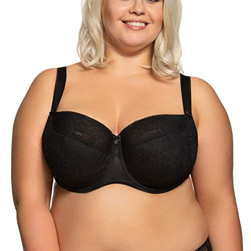 Gaia Underwired Lace Semi Padded Bra 594M Sandy Maxi, Black,32L