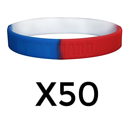 GOMOYO Work Hard Dream Big Motivational Silicone Wristbands Custom Embossed Quote. Rubber Bands for Fitness, Workouts, Crossfit, Basketball, Lifting (Red/White/Blue (50 Pack))