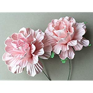 20 pcs Carnation Pink Color Mulberry Paper Flower 45mm Scrapbooking Wedding Dollhouse Supplies Card by' Thai Decorated 95