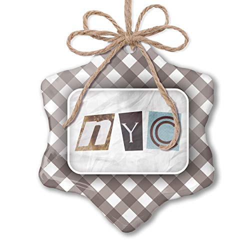 Nyc Black Letters - NEONBLOND Christmas Ornament NYC Mystery Letter Grey White Black Plaid