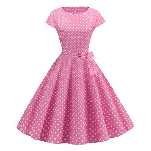 Rakkiss Women Vintage Skirt Dot Print Belt Elegant Hepburn Skirt Cocktail A-Line Dress Exquisite Party Midi Dress Pink