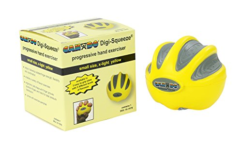CanDo Digi-Squeeze Hand Exerciser, Yellow: X-Light Resistance, Small