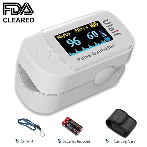 ULAIF Fingertip Pulse Oximeter with OLED Display Portable Oximetry Blood Oxygen Saturation Monitor SpO2 Finger Pulse Oximeter Readings with Carrying Case Lanyard and Batteries