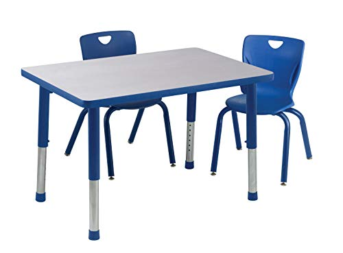 Classroom Select Apollo T-Mold Adjustable Table, Rectangle, 30 x 60 Inches, Top Color: Bannister Oak/Edge Color: Black