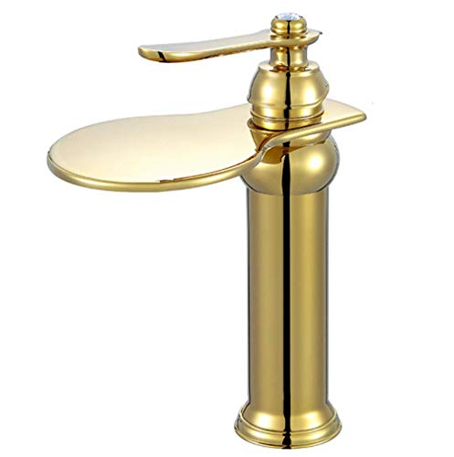 (Modern Waterfall Basin Sink Mixer Tap Gold Plated Plated Solid Brass Bathroom Lever Faucet Kitchen Water Sink Mixer Faucets,High)
