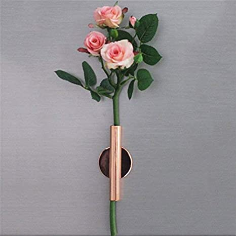 Oro Florero de Metal de Pared Soporte de Tubo de Flores de Acero Montado en la Pared Florero Soporte de Flores Soporte de Metal Floreros de Adorno Flor Artificial Arte Moderno