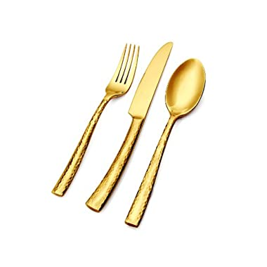 Hampton Forge Essenstahl Paris Titan 20-Piece Flatware Set, Hammered Gold, EFB85G20QT