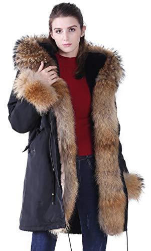 Pelliccia Cappotti romza Nero S Parka Donna Rivestimento Procione Collo Inverno Di Vero Ecopelliccia Con FPpqT
