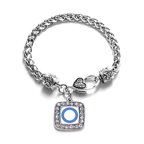Inspired Silver - Diabetes Blue Symbol Braided Bracelet for Women - Silver Square Charm Bracelet with Cubic Zirconia - Pave Square Link