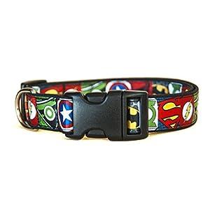 Superheros-Batman-Superman-Spiderman-Green-Arrow-Captain-America-Green-Lantern-Collar-Perro-Hecho-a-Mano-Talla-L-sin-Correa-Dog-Collar-Handmade