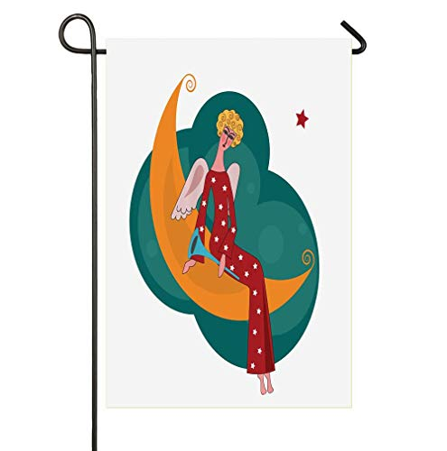 HOOSUNFlagrbfa Christmas Angel with A Trumpet Sitting on The Moon at Starry Night Wish Theme Garden Flag Welcome Decorative Flags for Party Yard and Home Outdoor Decor ()