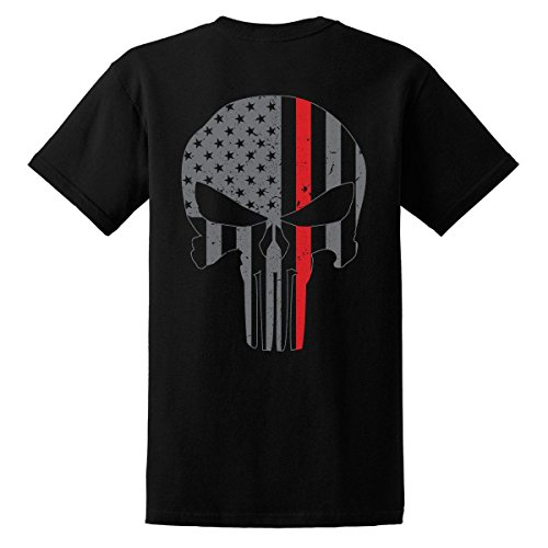 GunShowTees Men's Fire Dept/American Flag Skull Thin Red Line Shirt, X-Large, Black