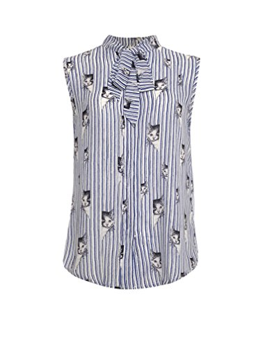 (LaVieLente Women's Light Blue Sleeveless Front Bow Blouse with Striped Cat Print (Sky Blue, X-Small))