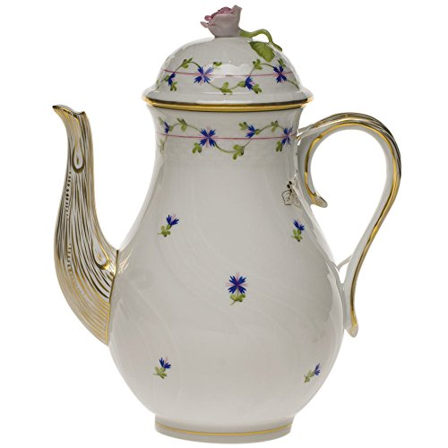 - Herend Blue Garland Porcelain Coffee Pot With Rose