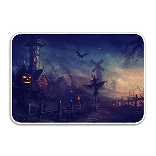 (jiajufushi Halloween Spooky Scarecrows DoorMats Rug Carpets Outdoor Indoor Thin Non Slip Carpets for Shower Room Front Door Kitchen Bedroom Garden 18 x 30)