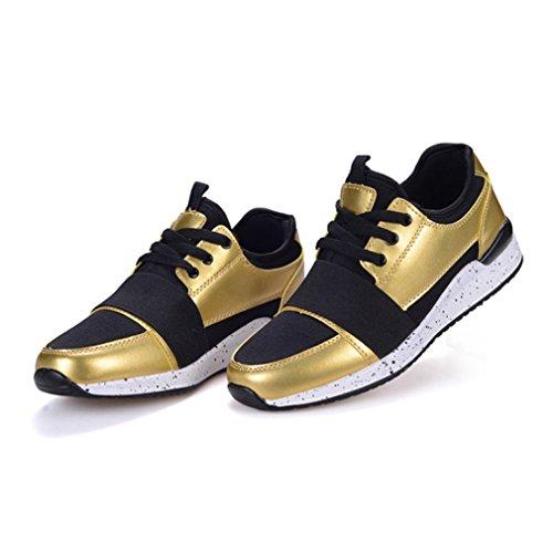 Homme basket mode microfibre chaussure de sport voyage course running jogging sneakers trial badminton waterproof 38-44 Or 6Tg1zgg