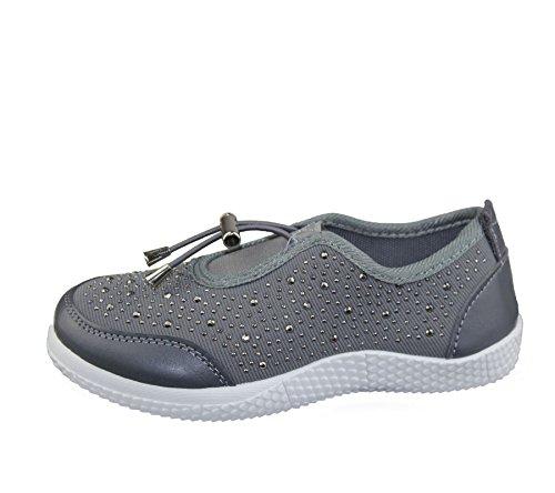KOLLACHE Mädchen mit Verziert Schuhe Casual Walking Komfort Fashion Leinwand Trainer Grau