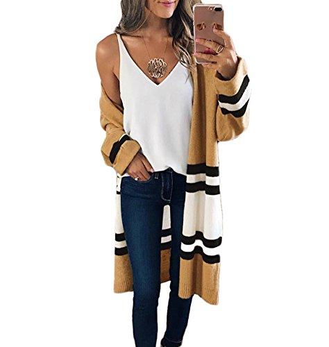 - Womens Fashion Knitted Casual Loose Stripes Long Blazer Cardigan Coat Tops Jacket Blouse (One Size, Khaki)