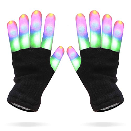 Luwint LED Colorful Flashing Finger Light Gloves Glow Rave Toy for Adult Youth ()