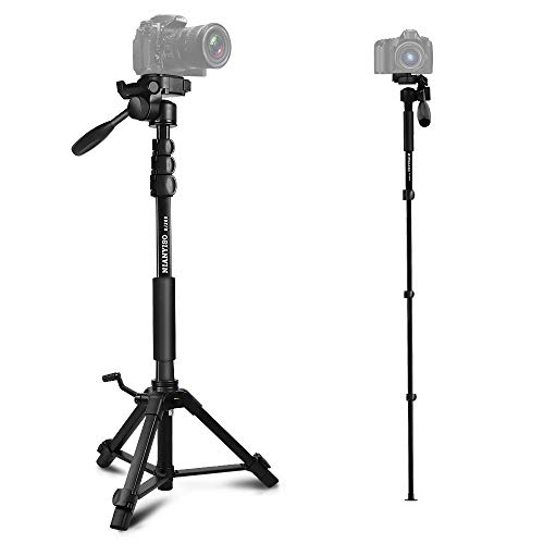 Camera Tripod Portable Aluminum Alloy Camera Tripod Monopod with 3-Way Swivel Pan Head and Carrying Bag for DSLR, DV Video Camcorder, Phone (BJ-368)