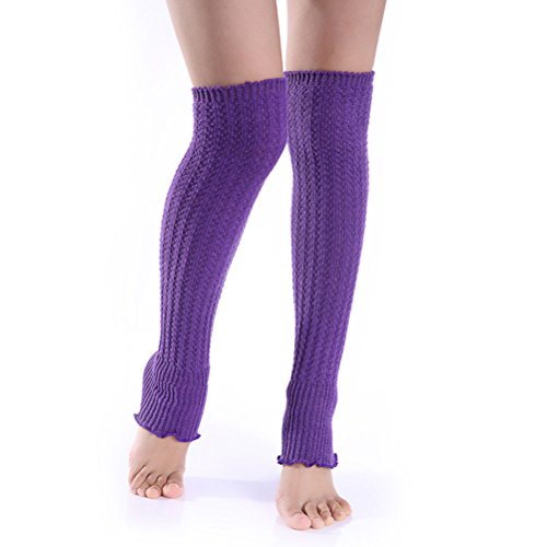Leg Acrylic Warmers (Nanxson(TM) Women's Knit Acrylic One Color Long Leg Warmer TTW0013 (purple))