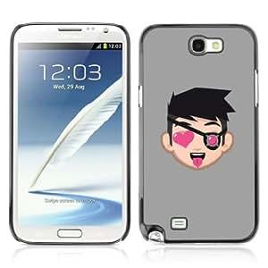 YOYOSHOP [Funny Face Illustration & Heart] Samsung Galaxy Note 2 Case
