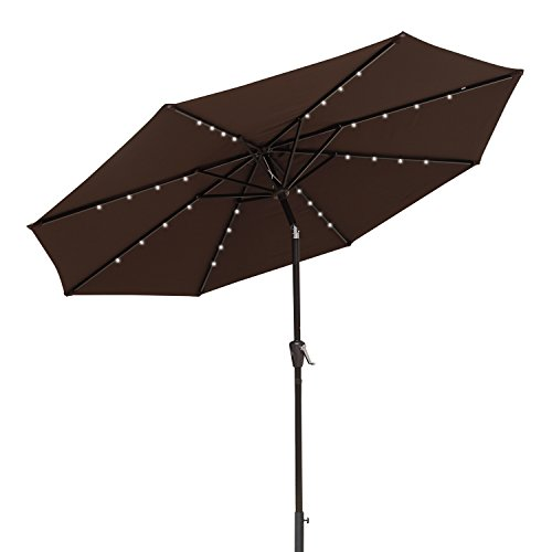(COBANA 9 Ft Deluxe Tilting Solar Powered 32 LED Lighted Aluminum Patio Table Umbrella, 100% Polyester, Coffee)