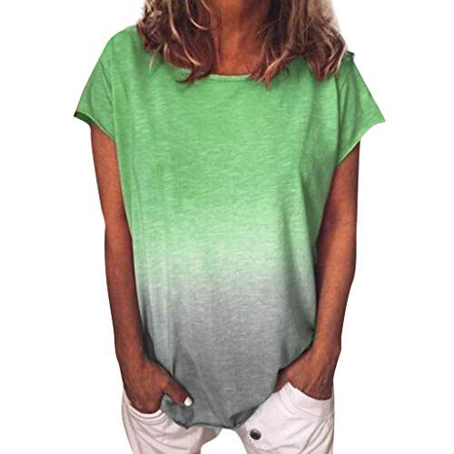 (DealinM  Women's Tops,Women's Casual Round Neck Gradient Color Short Sleeved T-Shirt Tunic Comfortable Shirt Blouse Green)