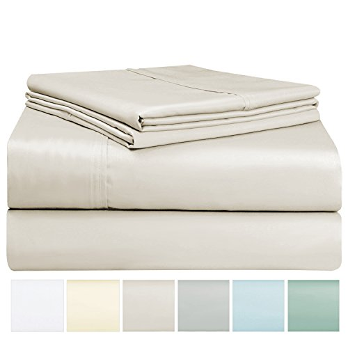 400 Thread Count Sheet Set, 100% Long Staple Cotton Beige King Sheets, Sateen Weave Bed Sheets fit upto 17 inch Deep Pockets, 4Pc Set by Pizuna Linens (Camel King 100% (Sateen Pocket)
