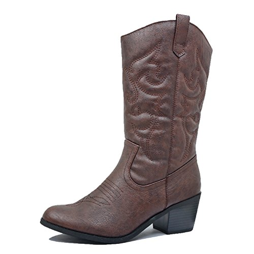 West Blvd Miami Cowboy Western Boots, Brown Pu, (Cowboy Heels)