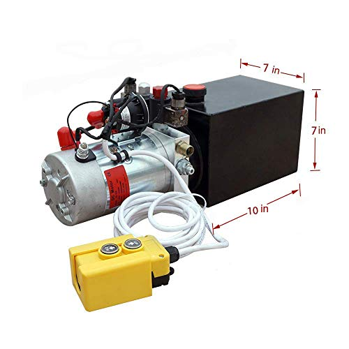 (8 Quart DC 12V Hydraulic Pump Power Supply Unit Pack Double Acting Dump Trailer Fit for Lift)