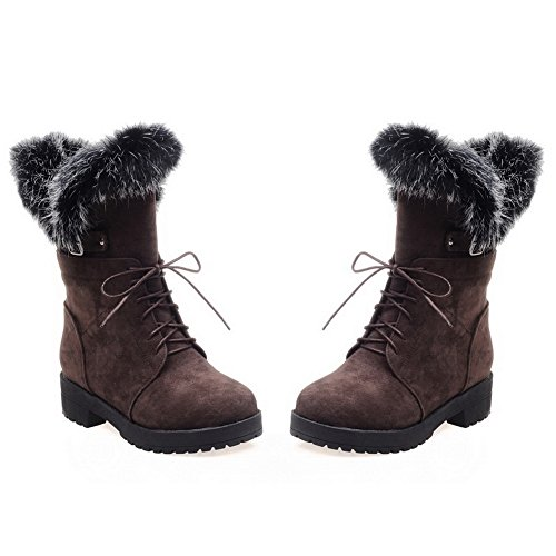 A&N Ladies Bandage Chunky Heels Fur Collar Frosted Boots Brown yqiKzQDP