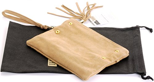 Hand Clutch Italian or Storage Protective Bag Branded Suede Leather Fold Shoulder Over Camel Wrist Made Bag xYHEHOrn