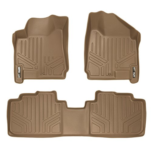SMARTLINER Floor Mats 2 Row Liner Set Tan for 2010-2016 Cadillac SRX