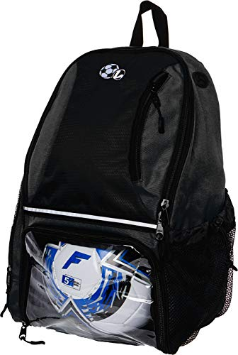 LISH Soccer Backpack - Large School Sports Gym Bag w/ Ball Compartment (Black)