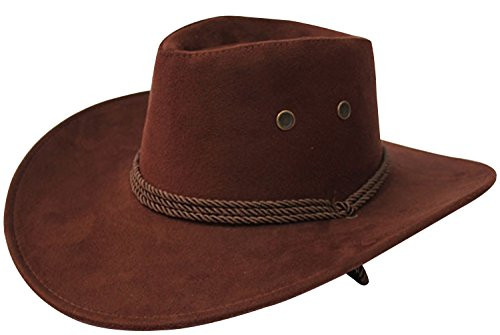 URqueen Unisex Round Up Leather Cowboy Ranch Hat with Strap Dark Coffee One Size