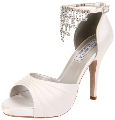 Liz Rene Couture Women's Guadalupe Platform Sandal,White Silk Satin,11 M - Silk Wedding Sandals