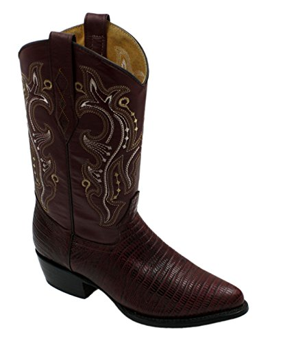 (Men Genuine Cowhide Leather Lizard Print J Toe Cowboy Boots Burgundy Size)