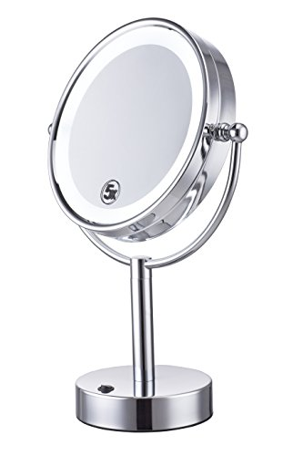 Cerdeco 8.5 Inch Two-Sided Tabletop Makeup Mirror 5X Magnifying LED Lighted CosmeticMirror Battery Operated Polished Chrome Finished