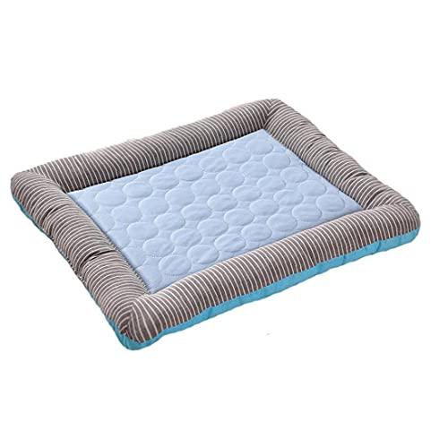 Berrywho Pet Cooling Pad Hund Sommer Schlafmatte Katzen Kühldecke Ice Silk Puppy Schlafen Matratze Blau M