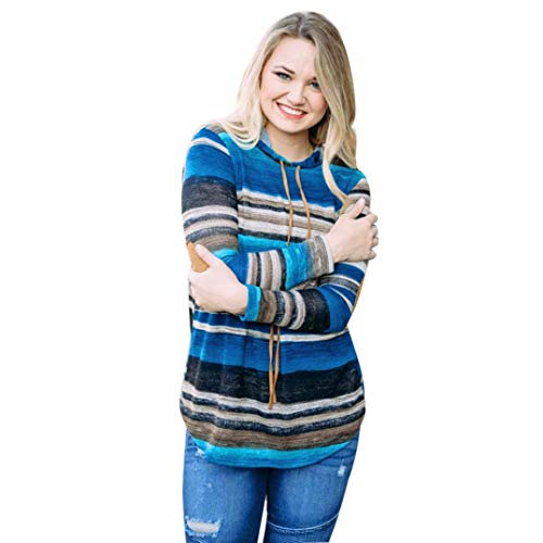 ClearanceWomensTops,KIKOY Long Sleeve Hoodie Colorful Striped Blouse Hooded Pullover