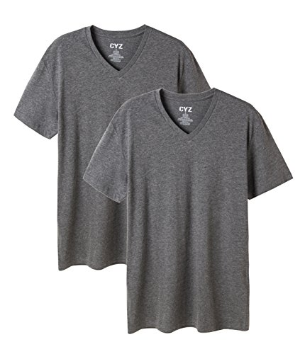 (CYZ Mens 2-PK Cotton Stretch V-Neck Fitted T-Shirt-Charcoal-L)