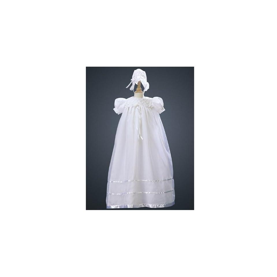 Lito Infant Baby Girls White Christening Gown Dress Bonnet 9 12M