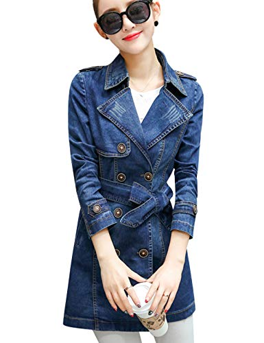 Denim Trench Coat - Tanming Women's Belted Double Breasted Long Denim Jean Jacket Trench Coat (Large, Blue)