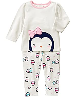 Baby White and Pink Penguin Set