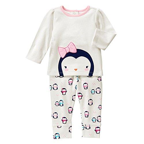 Gymboree Baby White and Pink Penguin Set, Jet Ivory, 12-18