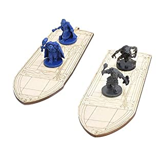 "D&D Wooden Row Boat 2PCS Laser Cut Hold Eight 1"" Miniatures(Not Included) Perfect for Dungeons and Dragons, Pathfinder or Other Tabletop RPGs"