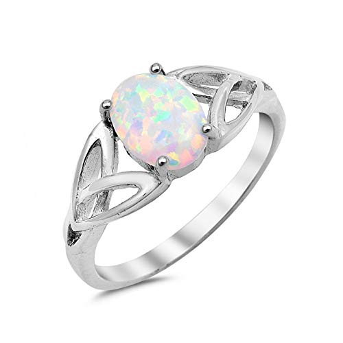 Sterling Silver Oval Lab Created Opal Celtic Knot Sides Design Promise Ring Size 5 -WO by Wedding Season Import
